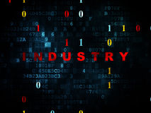 Business concept: Industry on Digital background. Business concept: Pixelated red text Industry on Digital wall background with Binary Code, 3d render Royalty Free Stock Image