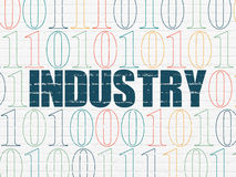 Business concept: Industry on wall background. Business concept: Painted blue text Industry on White Brick wall background with Binary Code, 3d render Royalty Free Stock Photo