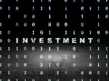 Business concept: Investment in grunge dark room. Business concept: Glowing text Investment in grunge dark room with Dirty Floor, black background with Binary Royalty Free Stock Images