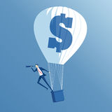 Business concept investment and search. Business concept searching, growth and investment, a businessman in hot air balloon looking through a telescope Stock Image