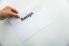 Business concept of isolated woman hold resignation letter Stock Images