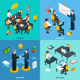 Business concept 4 isometric icons square Royalty Free Stock Photography