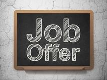 Business concept: Job Offer on chalkboard background. Business concept: text Job Offer on Black chalkboard on grunge wall background, 3D rendering Royalty Free Stock Image
