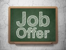 Business concept: Job Offer on chalkboard background. Business concept: text Job Offer on Green chalkboard on grunge wall background, 3D rendering Stock Photography