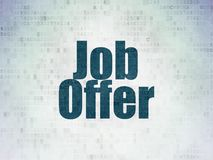Business concept: Job Offer on Digital Data Paper background. Business concept: Painted blue word Job Offer on Digital Data Paper background Stock Photos