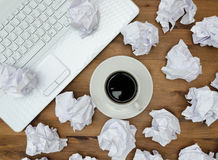 Business concept. Laptop, cup of coffee paper Royalty Free Stock Photos