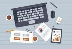Business Concept. Laptop, tablet and items in the office desk Stock Photography