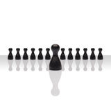 Business concept leader step forward group small black square Stock Photography