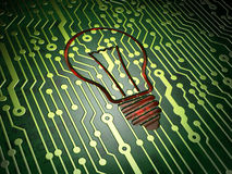 Business concept: Light Bulb on circuit board background. Business concept: circuit board with Light Bulb icon, 3d render Stock Photo