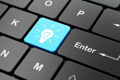 Business concept: Light Bulb on computer keyboard background. Business concept: computer keyboard with Light Bulb icon on enter button background, 3D rendering Stock Images