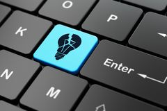 Business concept: Light Bulb on computer keyboard background. Business concept: computer keyboard with Light Bulb icon on enter button background, 3D rendering Royalty Free Stock Photos