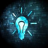 Business concept: Light Bulb on digital background. Business concept: pixelated Light Bulb icon on digital background, 3d render Stock Photography