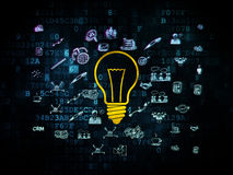 Business concept: Light Bulb on Digital background. Business concept: Pixelated yellow Light Bulb icon on Digital background with  Hand Drawn Business Icons, 3d Stock Photography