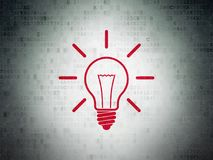 Business concept: Light Bulb on Digital Data Paper background. Business concept: Painted red Light Bulb icon on Digital Data Paper background Stock Image