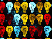 Business concept: Light Bulb icons on Digital. Business concept: Pixelated multicolor Light Bulb icons on Digital background, 3d render Stock Image