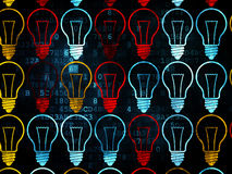 Business concept: Light Bulb icons on Digital. Business concept: Pixelated multicolor Light Bulb icons on Digital background, 3d render Royalty Free Stock Photography