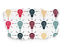 Business concept: Light Bulb icons on Torn Paper. Business concept: Painted multicolor Light Bulb icons on Torn Paper background, 3d render Stock Photo