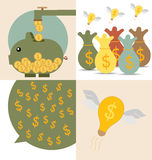 Business concept. Light bulb and Piggy bank with money coins. Ve. Ctor illustration Royalty Free Stock Image