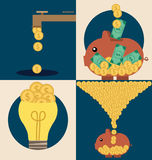 Business concept. Light bulb and Piggy bank with money coins. Ve Stock Photography