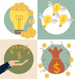 Business concept. Light bulb and Saving money bag with money coi Royalty Free Stock Images