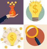 Business concept. Light bulb and Saving money bag with money coi Royalty Free Stock Photo