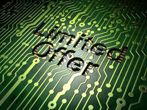 Business concept: Limited Offer on circuit board background Stock Photography