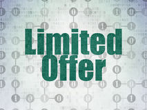 Business concept: Limited Offer on Digital Paper. Business concept: Painted green text Limited Offer on Digital Paper background with  Scheme Of Binary Code, 3d Royalty Free Stock Photography