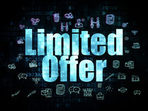 Business concept: Limited Offer on Digital. Business concept: Pixelated blue text Limited Offer on Digital background with  Hand Drawn Business Icons, 3d render Royalty Free Stock Photo