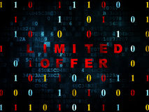 Business concept: Limited Offer on Digital. Business concept: Pixelated red text Limited Offer on Digital wall background with Binary Code, 3d render Stock Photo