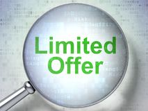 Business concept: Limited Offer with optical glass. Business concept: magnifying optical glass with words Limited Offer on digital background, 3D rendering Royalty Free Stock Photography