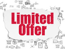 Business concept: Limited Offer on Torn Paper. Business concept: Painted red text Limited Offer on Torn Paper background with Scheme Of Hand Drawn Business Icons Stock Photos