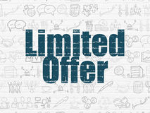 Business concept: Limited Offer on wall background. Business concept: Painted blue text Limited Offer on White Brick wall background with  Hand Drawn Business Royalty Free Stock Photos
