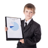 Business concept - little boy in business suit showing results o Stock Image