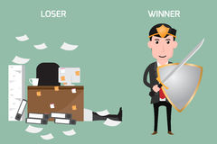 Business concept. Loser and winner. Vector illustration Stock Photos
