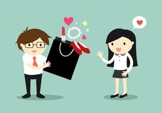 Business concept, Love in office. Businessman bought a lot of things for business woman. Stock Photos