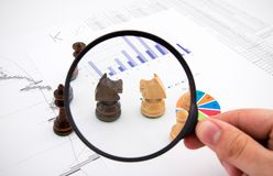 Business concept with magnifier and chess Stock Image