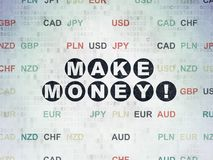 Business concept: Make Money! on Digital Data Paper background. Business concept: Painted black text Make Money! on Digital Data Paper background with Currency Royalty Free Stock Photography