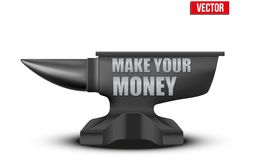 Business concept of make money. Iron Anvil. Vector Royalty Free Stock Photos