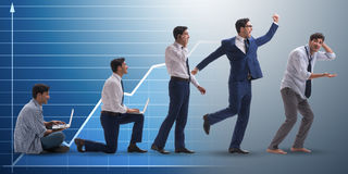 The business concept with man progressing through stages Royalty Free Stock Photo
