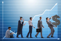 The business concept with man progressing through stages Stock Photography