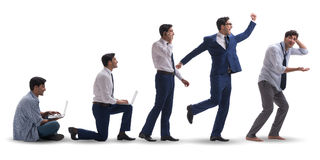The business concept with man progressing through stages Royalty Free Stock Photos
