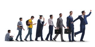 The business concept with man progressing through stages Royalty Free Stock Photography