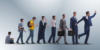The business concept with man progressing through stages Royalty Free Stock Images