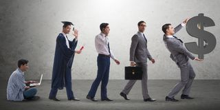 The business concept with man progressing through stages Stock Photos