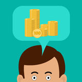 Business concept. Man thinks about money. Golden momnet in a speech cloud. Flat design Royalty Free Stock Photography