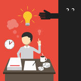 Business concept. Man working late into the night. Creative concept. Man working late into the night. Vector illustration stock illustration