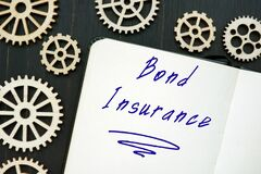 Business concept meaning Bond Insurance with sign on the page
