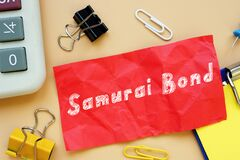 Business concept meaning Samurai Bond with inscription on the sheet