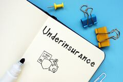 Business concept meaning Underinsurance with inscription on the sheet