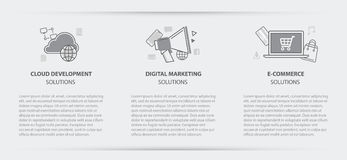 Business concept menu banner of cloud digital marketing stock illustration